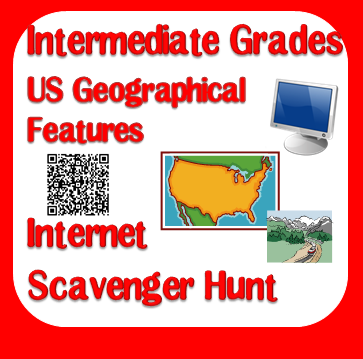 Free internet scavenger hunt for geographical features of the USA with 3 different versions including QR codes, a pdf version and a doc version from Raki's Rad Resources.