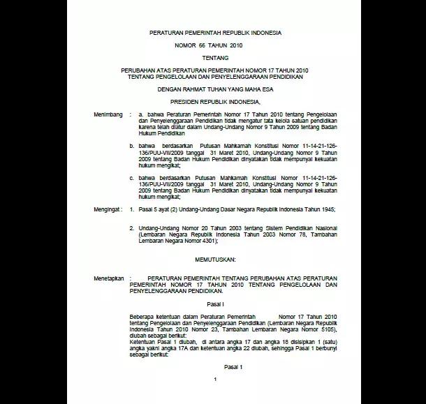 PP Nomor 66 Tahun 2010 Tentang Pengelolaan dan Penyelenggaraan Pendidikan