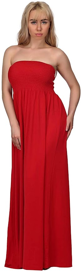 Good Quality Red Strapless Maxi Dresses