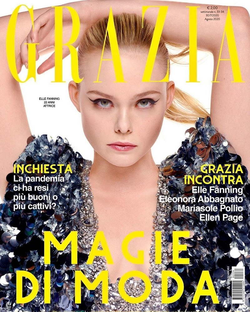 Elle Fanning Featured on the Cover of Grazia Magazine -  Italy August 2020