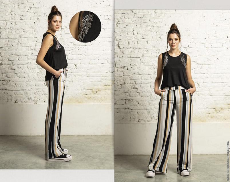 Pantalones a rayas primavera verano 2020. Moda mujer primavera verano 2020.