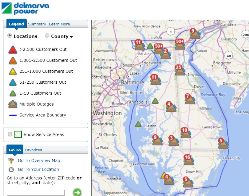 Salisbury News: Delmarva Power Outage Map 3 2 18 2pm