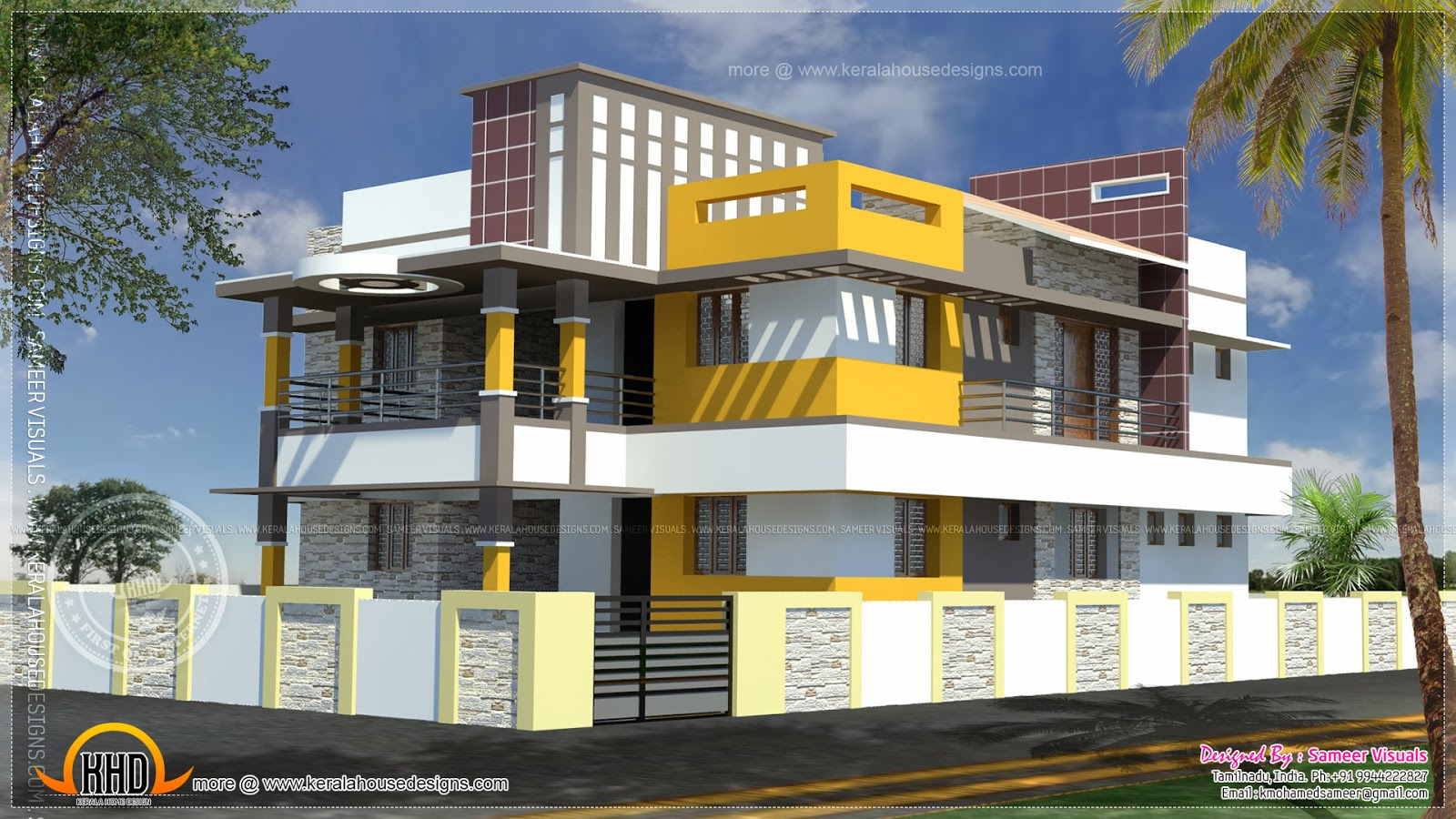 201 square meter modern tamilnadu house home kerala plans for Bedroom designs tamilnadu
