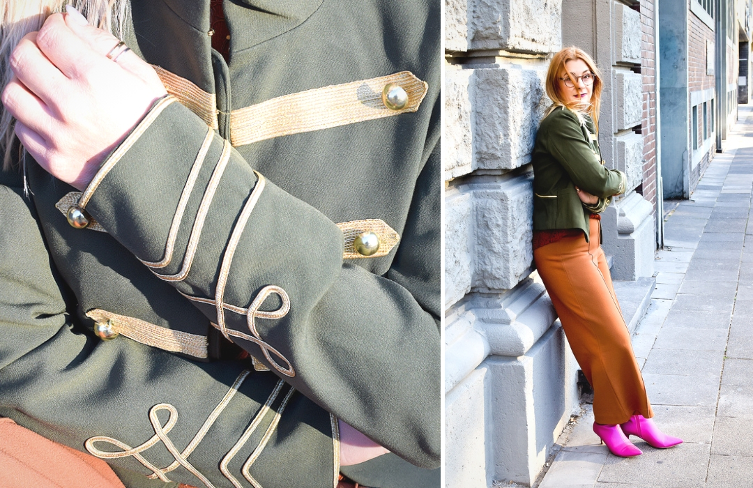 Olivgrüne Jacke, Streetstyle, Zirkusdirektor Jacke für Frauen