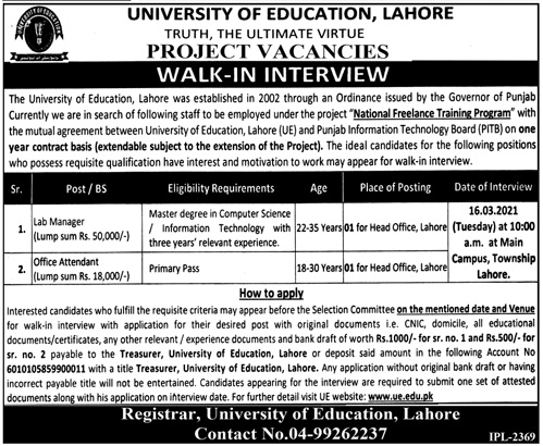 Lahore University Jobs 2021 - University of Education UE Lahore Jobs 2021 - Latest UE Jobs 2021