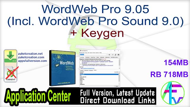 WordWeb Pro 9.05 (Incl. WordWeb Pro Sound 9.0) + Keygen