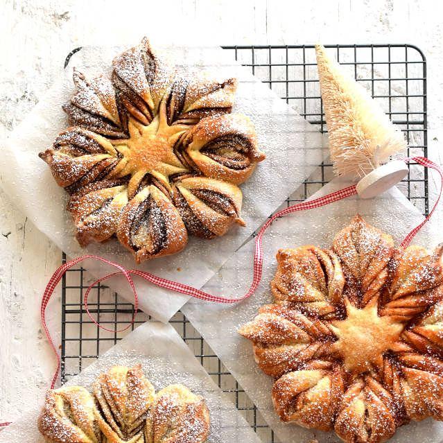 Receta para preparar estrella de pan dulce con 3 rellenos