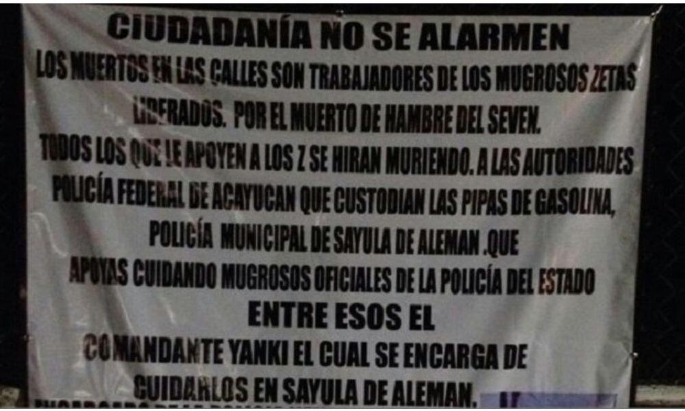 """""""TODOS LOS QUE APOYEN A LOS Z SE HIRAN MURIENDO, USTEDES YA SABEN"""", APARECE MENSAJE CON AMENAZA."""