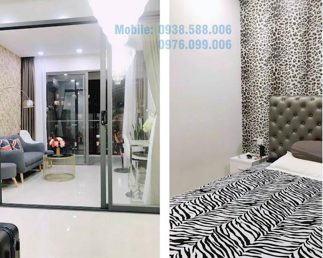 Nội thất phòng khách và phòng ngủ căn hộ dự án Masteri Millennium 1PN đường Bến Vân Đồn..