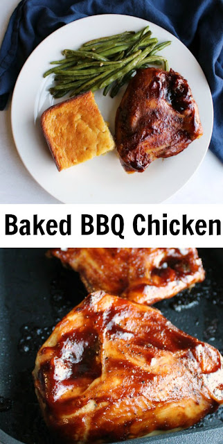 Sometimes you get a hankering for BBQ chicken but standing over the grill isn't possible. That's when you break out this recipe for baked BBQ chicken, it is the best way to do it indoors!