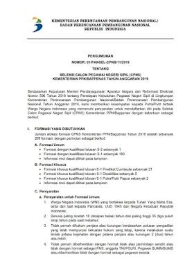 Informasi Penerimaan CPNS Kementerian PPN/Bappenas Tahun 2019