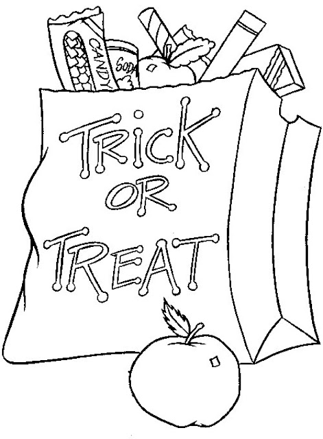 best Trick or treat bag coloring sheets to print