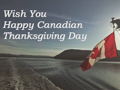 Wish you happy Canadian Thanksgiving Day text with sea, hill & Canadian flag.