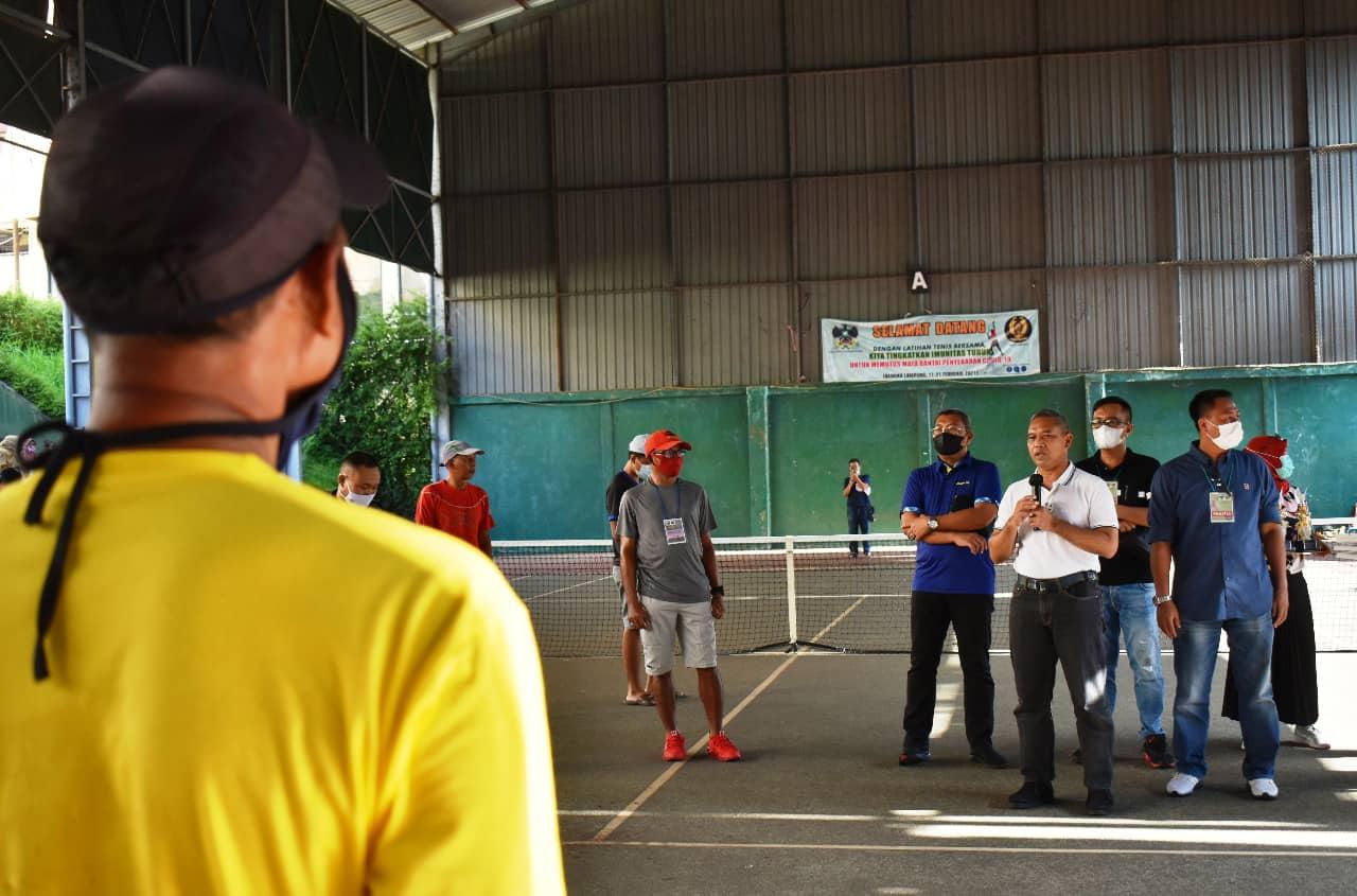 Danrem 043/Gatam Tutup Turnamen Tenis Lapangan Danrem 043/Gatam Cup 2021.