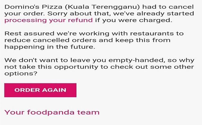 Akhirnya Dapat Duit Refund Dari FoodPanda