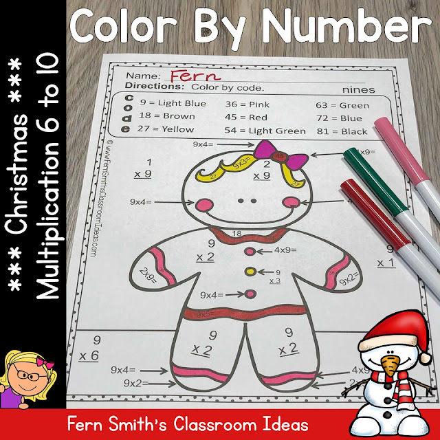 Christmas Color By Number for Multiplication Facts Six to Ten