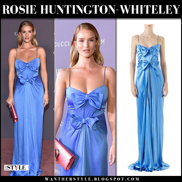 Rosie Huntington-Whiteley in blue satin bow gown at LACMA Gala red carpet outfit november 4 2017