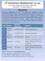 Navayuga Engineering Co Limited Jobs For B.E. B.Tech 10th pass For Position Supervisor, Foreman And Engineer