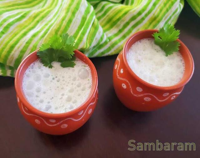 images of Sambaram Recipe /  Kerala Style Buttermilk / Kerala Style Spiced Buttermilk Recipe / Kerala Sambaram Recipe / Moru Vellam Recipe / Pacha Moru Recipe