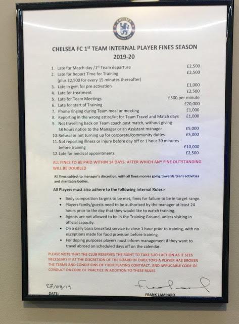 Pemain Chelsea Akan Dikenakan Bayaran Denda Jika Lambat Datang Training