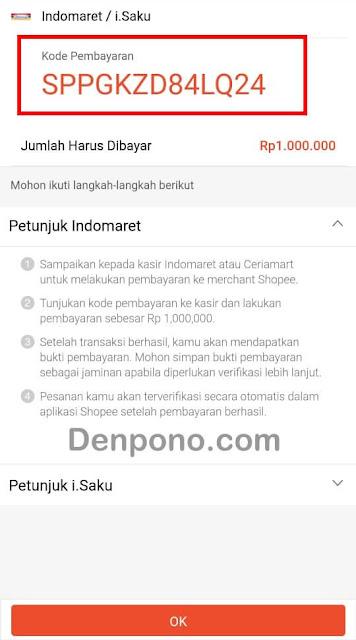 kode pembayaran top up shopeepay di Indomaret