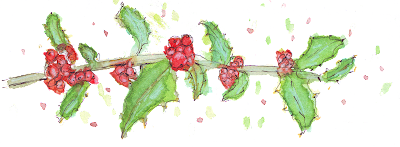 Handpainted Watercolour Holly Christmas Clip Art With Splattered Dots