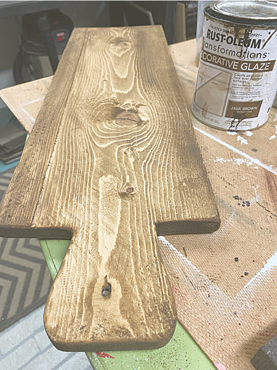 stained wooden breadboard