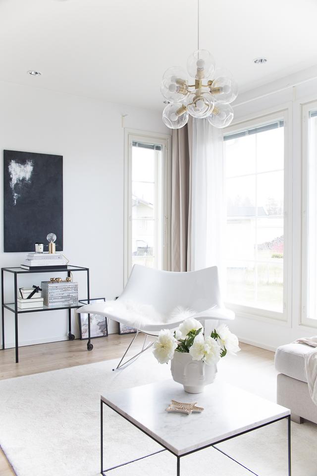 Villa H, olohuoneen uudet verhot, sisustus, sisustusblogi