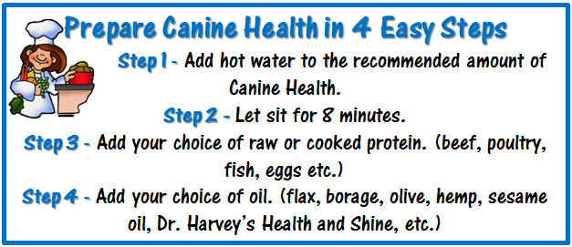 The 4 steps in preparing Dr. Harvey''s Canine Health