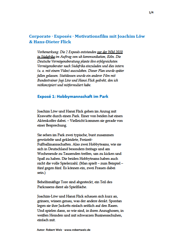 Incentive, Kommunikation, Werbetexter, Information, schreiben, Corporate-Film, Bundestrainer Joachim Löw, Hansi Flick, Werbepartner, Deutsche Vermögensberatung