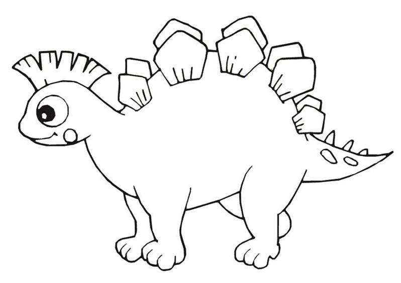 Hình tô màu con khủng long cute