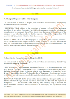 format of special resolution for change of registered office outside local limits
