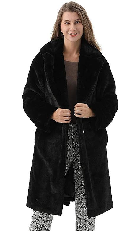 Black Faux Fur Coats Jackets For Women
