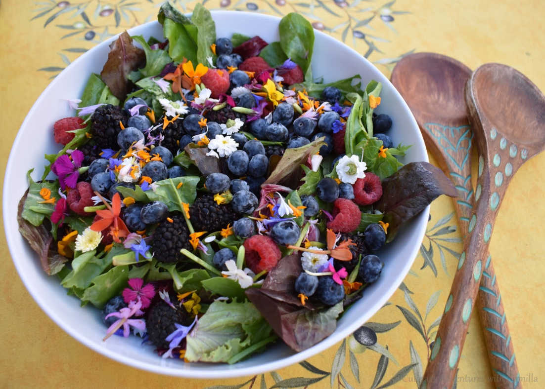 Salad with Greens, Microflowers, and Summer Berries by Culinary Adventures with Camilla