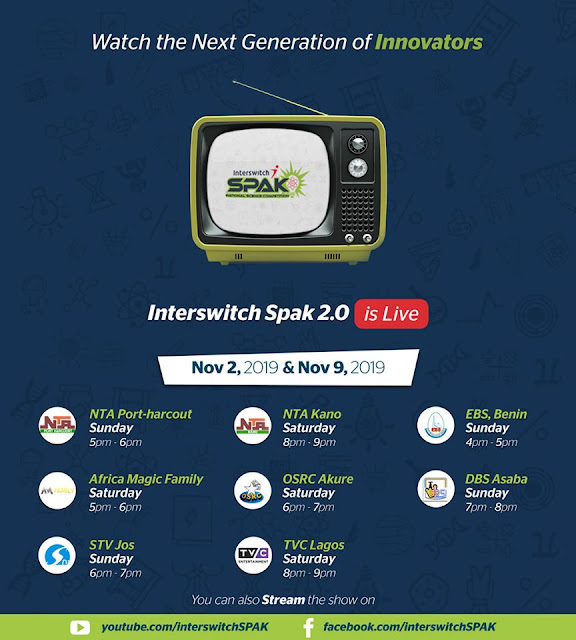 InterswitchSPAK 2.0 TV Quiz Competition Media Schedule 2019