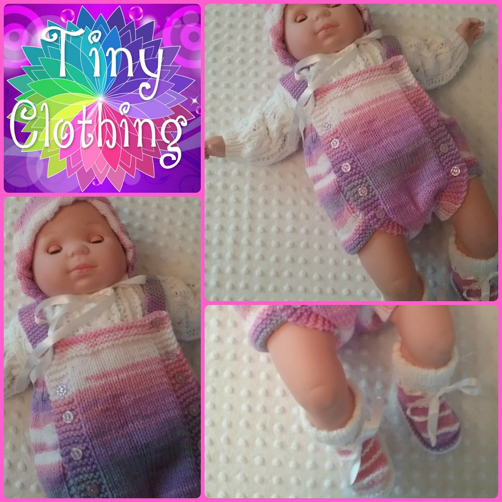Hand Knitted Dolls Clothes: Traditional Romper Suit S3