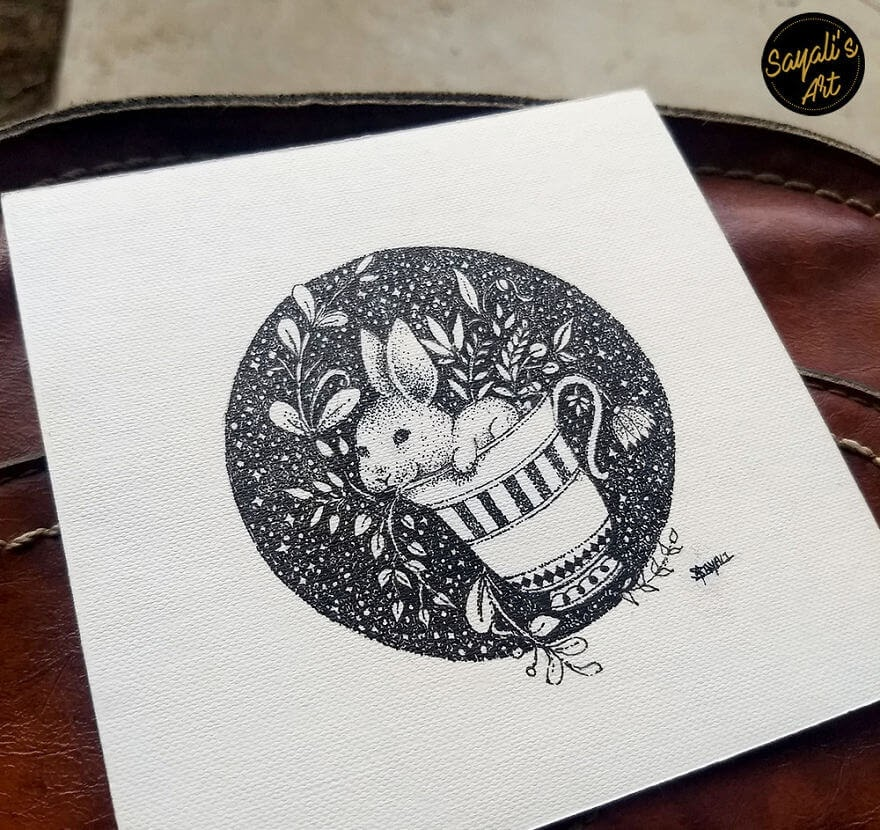 09-Follow-Me-To-Wonderland-Sayali-Horambe-Stippling-Dots-and-Creating-Drawings-www-designstack-co