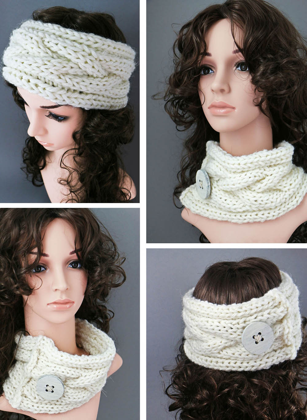 knitted braided earwarmer-cowl free pattern