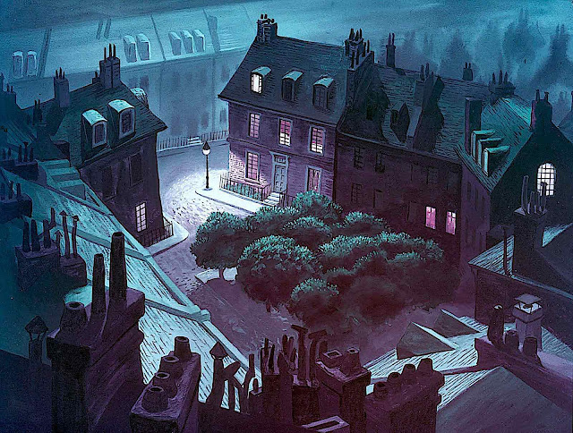 a Disney animation background of a birdseye town at night