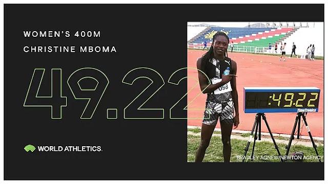 Christine Mboma bate novo recorde mundial junior