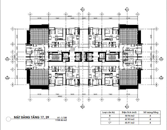 Mặt bằng tầng căn hộ 17 và 29, FLC Green Home