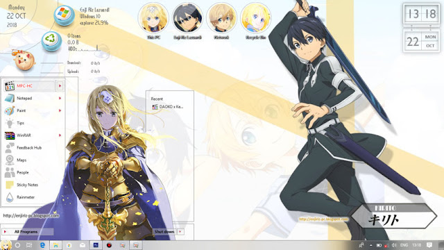Windows 10 Ver. 1809 Theme Sword Art Online: Alicization by Enji Riz Lazuardi