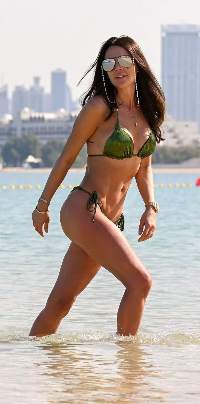 Danielle Lloyd in Green Bikini on Beach in Dubai