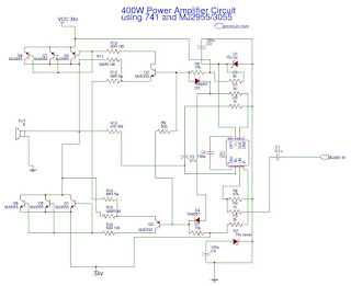 Circuit schematic Power Amplifier 400 Watt using IC741 and MJ2955/3055