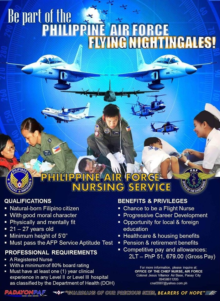 Philippine Air Force in need of nurses, starting salary at P51,679 plus benefits