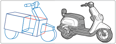 A drawing using the simple forms