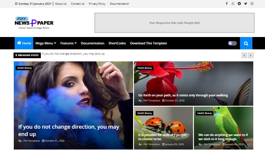 Pixy Blogger Template is a beautifully designed fashion news and elegance blogger theme with a well-optimized responsive 4 layout.