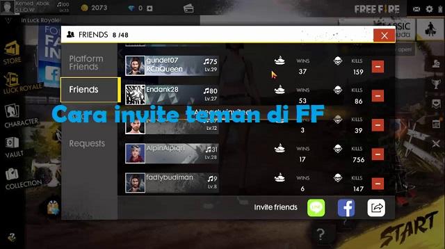 Cara invite teman di FF