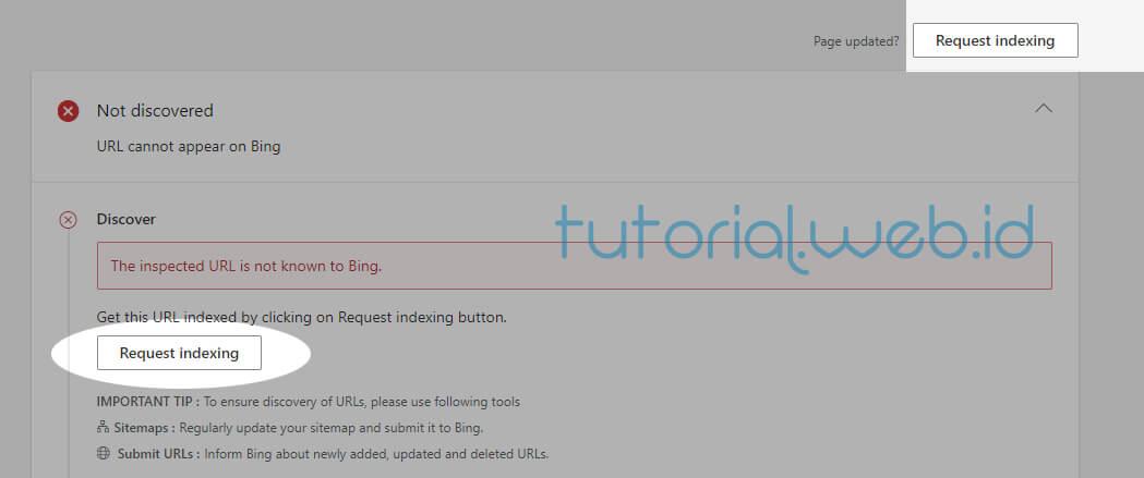 Cara Submit Artikel Ke Bing 2 Pilih Request Indexing