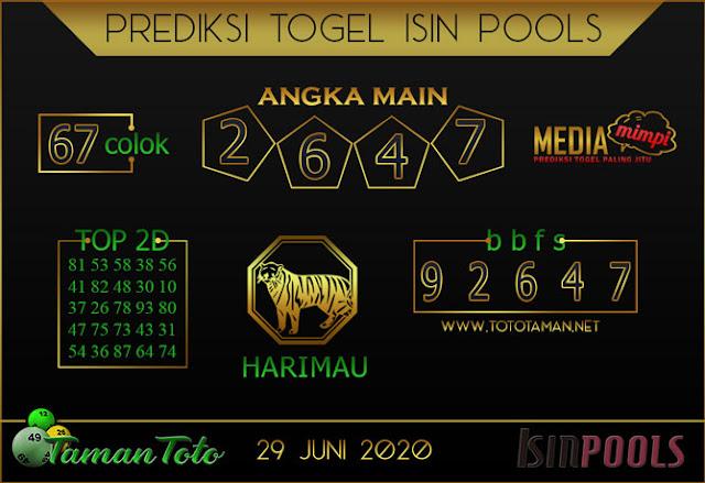 Prediksi Togel ISIN TAMAN TOTO 29 JUNI 2020